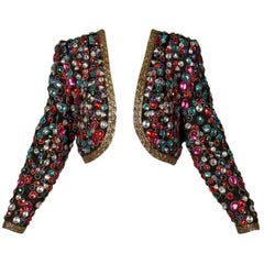 Lillie Rubin Vintage 1980s Heavy Rhinestone + Beaded Silk Embellished Jacket