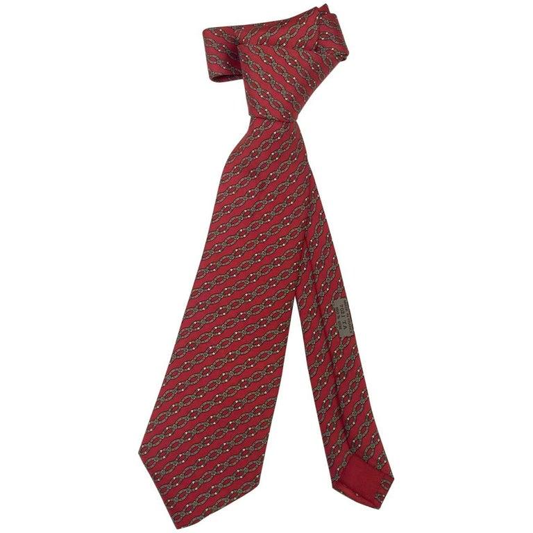 5784c83f62fb Honored Hermes Heritage! 100% Silk Belt Link Burgundy Tie For Sale ...