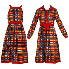 1970s Vintage Oscar de la Renta Matching Plaid Dress + Jacket Ensemble