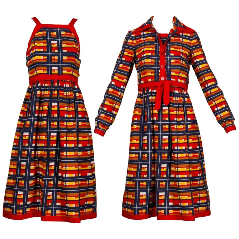 1970s Vintage Oscar de la Renta Matching Plaid Dress + Jacket Ensemble For Sale
