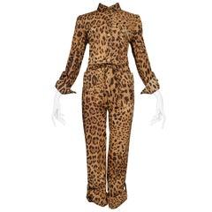 Super Chic Dolce & Gabbana Cotton Leopard Safari Style Belted Jumpsuit
