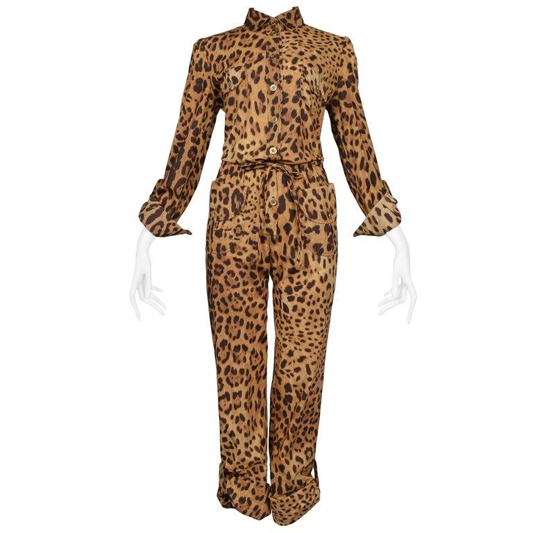 Super Chic Dolce & Gabbana Cotton Leopard Safari Style Belted Jumpsuit For Sale