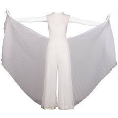 1970s Vintage White Organza Pleated Wide Leg Palazzo Jumpsuit or Pantsuit