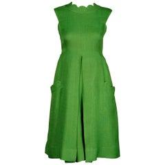 1960s Chester Weinberg Vintage Green Scalloped Linen Mod Dress