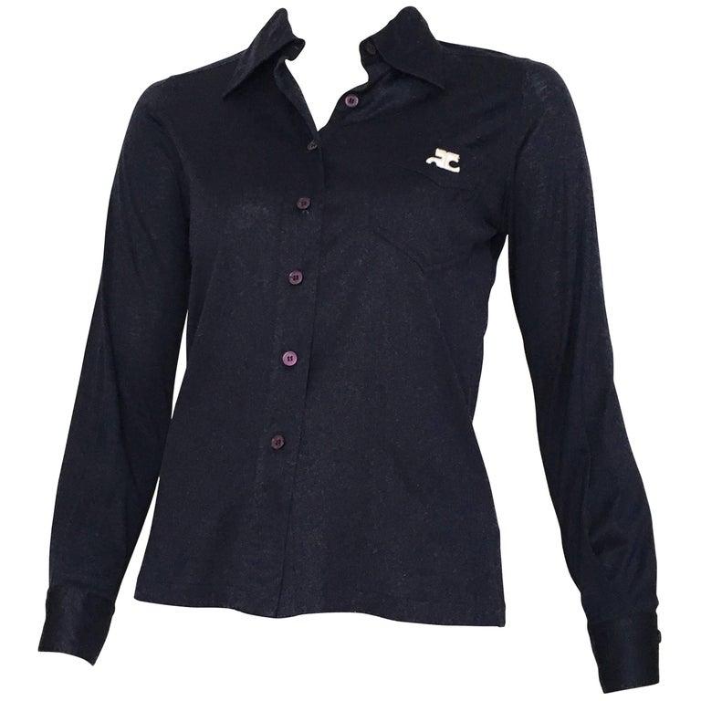 Courreges 1980s Navy Cotton Button Up Blouse Size 4.