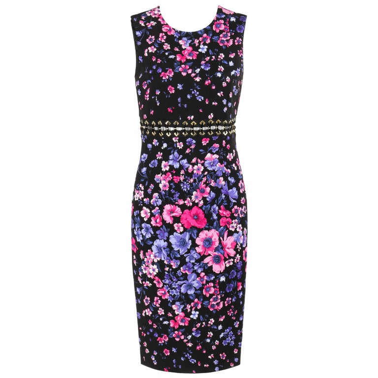 VERSACE S/S 2012 Black Multicolor Floral Print Shift Cocktail Dress NWT