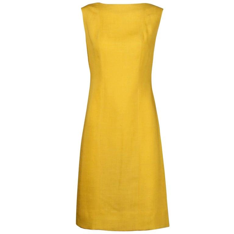 Pauline Trigere 1960s Vintage Yellow Silk + Wool Cape Sheath Dress 1