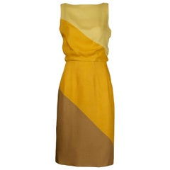Estevez Vintage Yellow Linen Color Block Sheath Dress, 1960s