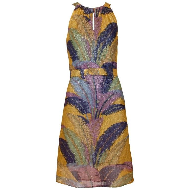 Marchesa di Grésy for I. Magnin Vintage 1970s Tropical Print Metallic Dress