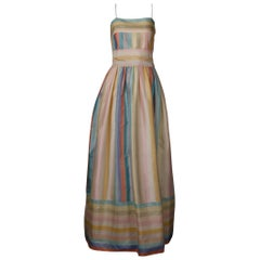 Sakowitz Vintage Pastel Rainbow Striped Silk Maxi Dress/ Gown with Matching Sash