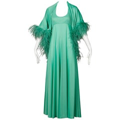 1970s Joan Leslie by Kasper Vintage Mint Green Maxi Dress + Ostrich Feather Wrap