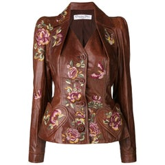 200os Christian Dior by John Galliano embroidered leather jacket