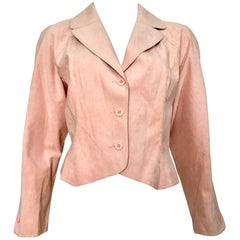 HALSTON 1970s Pink Ultra Suede Cropped Jacket Size 14. Never Worn.