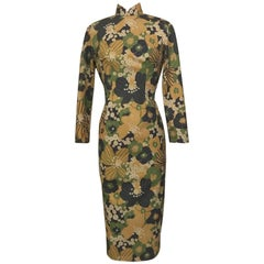 1960s Cheongsam Midi Dress and Vest Green Gold and Navy Retro Floral Suit Set