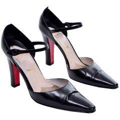 Vintage Christian Louboutin Mulano Black Calf Leather Pumps w/ Red Soles Size 7