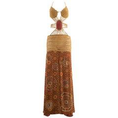 Gianfranco Ferre Spring-Summer 2004 crochet bondage embellished evening dress