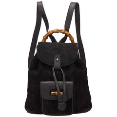 Gucci Black Suede Bamboo Backpack