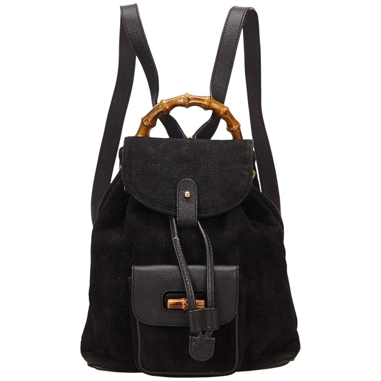 Gucci Black Suede Bamboo Backpack For Sale