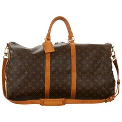 Louis Vuitton Brown Coated Monogram Canvas Vintage Keepall Bandouliere 55
