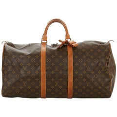 1987 Louis Vuitton Brown Coated Monogram Canvas Vintage Keepall 55