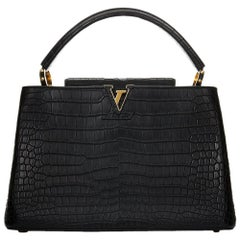 2014 Louis Vuitton Black Matte Porosus Crocodile Leather Capucines MM