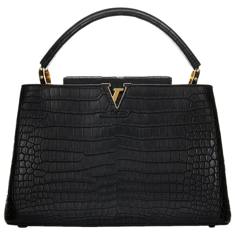 2014 Louis Vuitton Black Matte Porosus Crocodile Leather Capucines MM 1