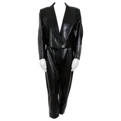 Alaia 1980's Black Leather Trousers and Jacket Suit.
