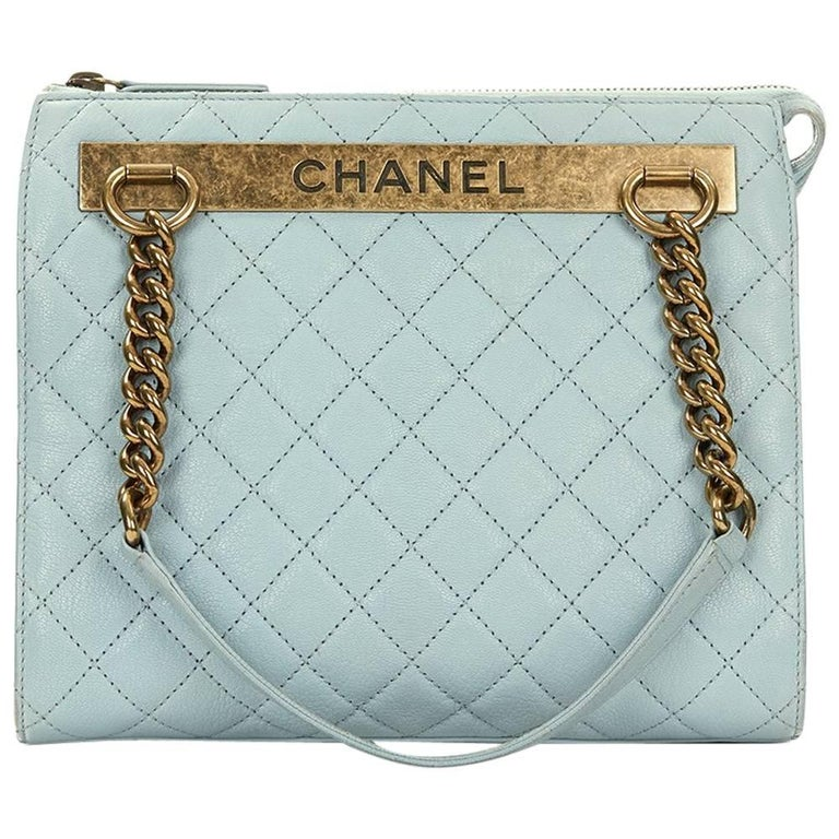 2010s Chanel Pale Blue Quilted Calfskin Leather Timeless Shoulder Tote