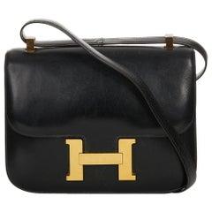 1968 Hermes Black Box Calf Leather Vintage Constance 23