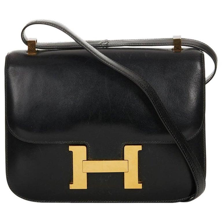 8c9eebf0d79 1968 Hermes Black Box Calf Leather Vintage Constance 23 at 1stdibs