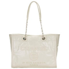 2016 Chanel White Glazed Leather & Caviar Leather Small Deauville Tote