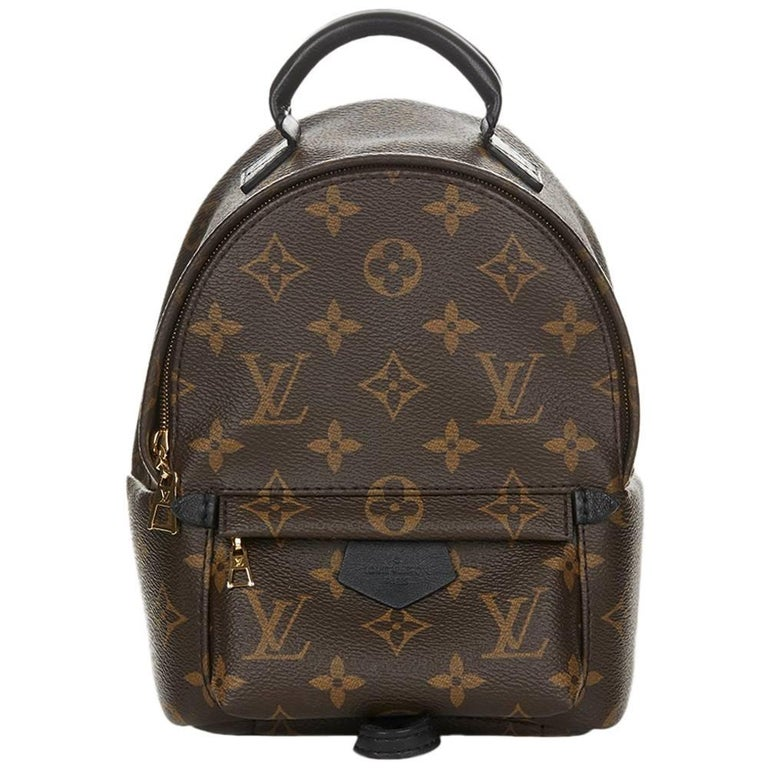 2016 Louis Vuitton Brown Monogram Coated Canvas Palm Springs Backpack PM  For Sale ae5ea65543