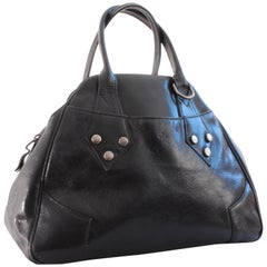 Vivienne Westwood Large Bowler Bag Tote Black Leather & Silver Hardware 2000