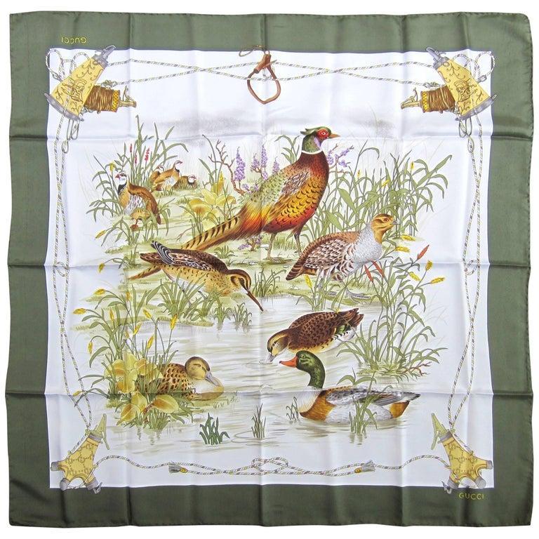 1990s New, Never Worn Gucci Wildlife Duck Silk Scarf