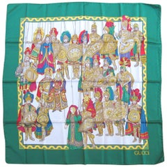 1990s Gucci Silk Scarf Knights In Amour New, Never Worn