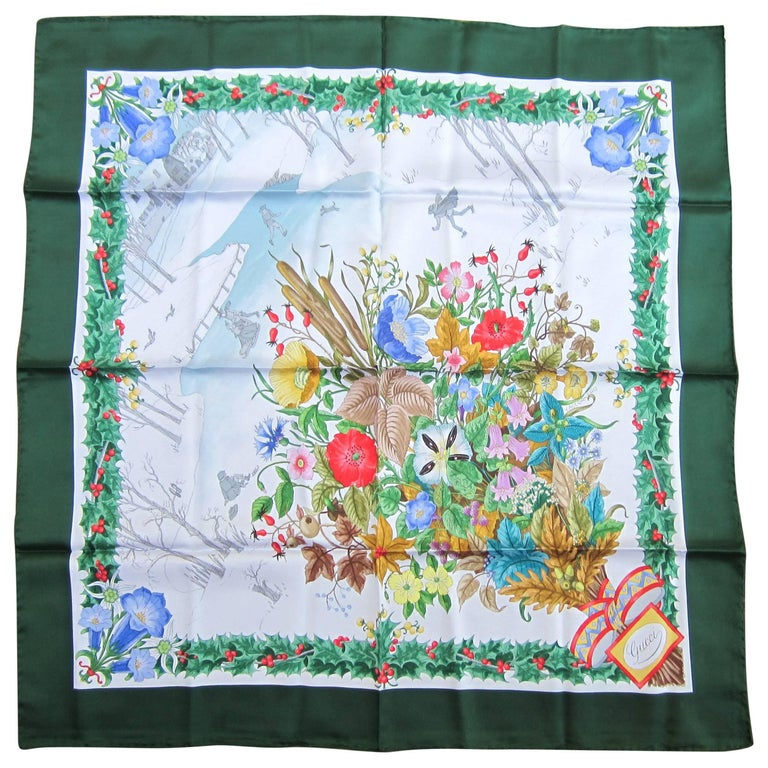 1990s Gucci Silk Scarf Green Holly Motif New, Never worn