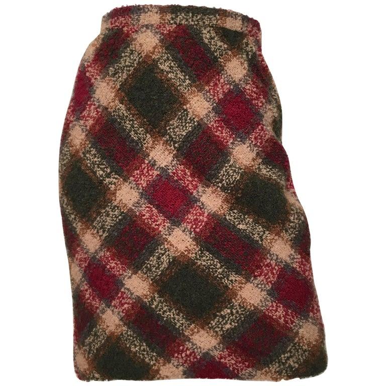 Bill Blass Nubby Wool Plaid Skirt