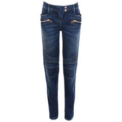 Balmain Low Rise Dark Blue Stretch Biker Moto Jeans w/Gold Hardware