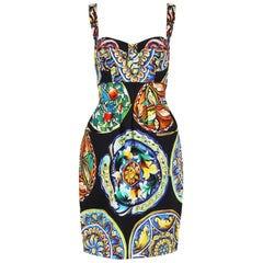 2013 Dolce & Gabbana Cotton Printed Bustier Dress - NWT