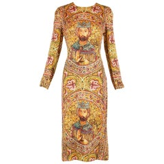 2013 Dolce & Gabbana Mosaic Collection Silk Dress w/Icon Graphic NWT
