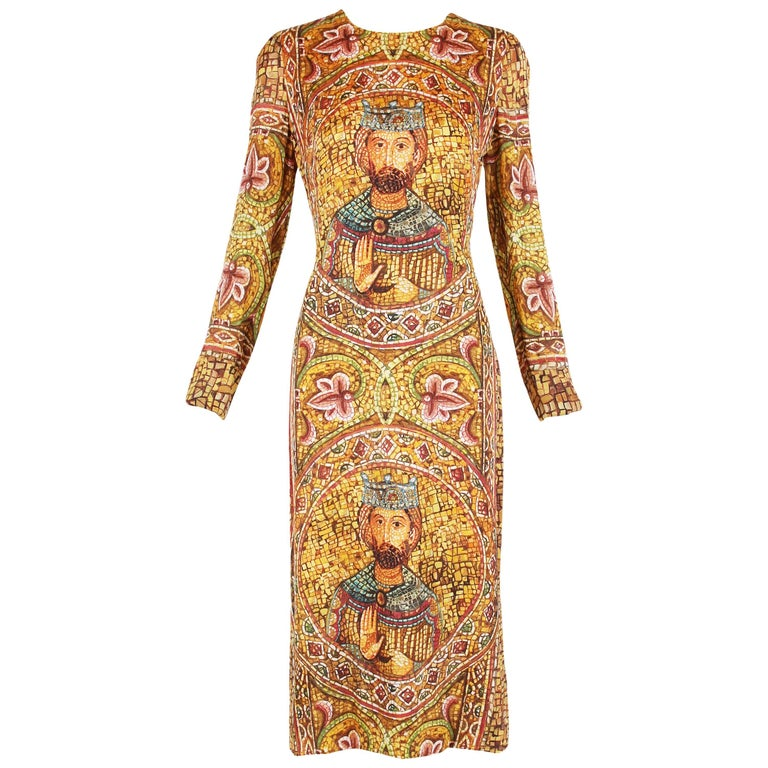 2013 Dolce & Gabbana Mosaic Collection Silk Dress w/Icon Graphic NWT 1