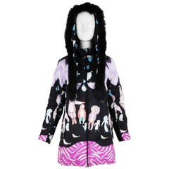 Tsumori Chisato Reversible Eskimo-Themed Down Jacket w/Fur-Trimmed Hood