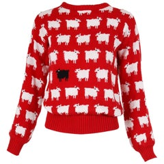 """1980's Red, White & Black Lady Diana Spencer """"Black Sheep"""" Sweater"""