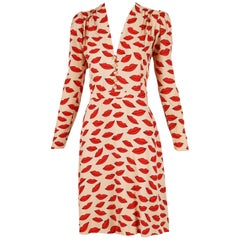 1971 Iconic Yves Saint Laurent Lips Print Dress