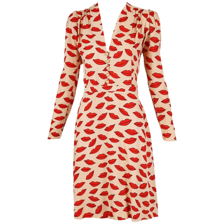 1971 Iconic Yves Saint Laurent Lips Print Dress