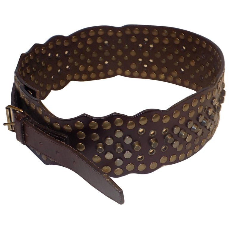 dolce and gabbana heavy metal studded wide leather belt at