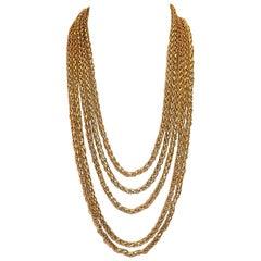 Yves Saint Laurent Vintage  multi chain Rope necklace