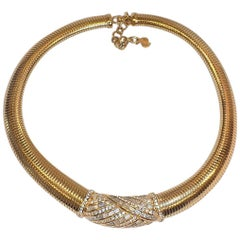 Vintage DIOR  gold tone and crystals Art Deco   choker necklace
