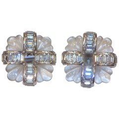 KJL Kenneth J Lane vintage Carved crystal earrings