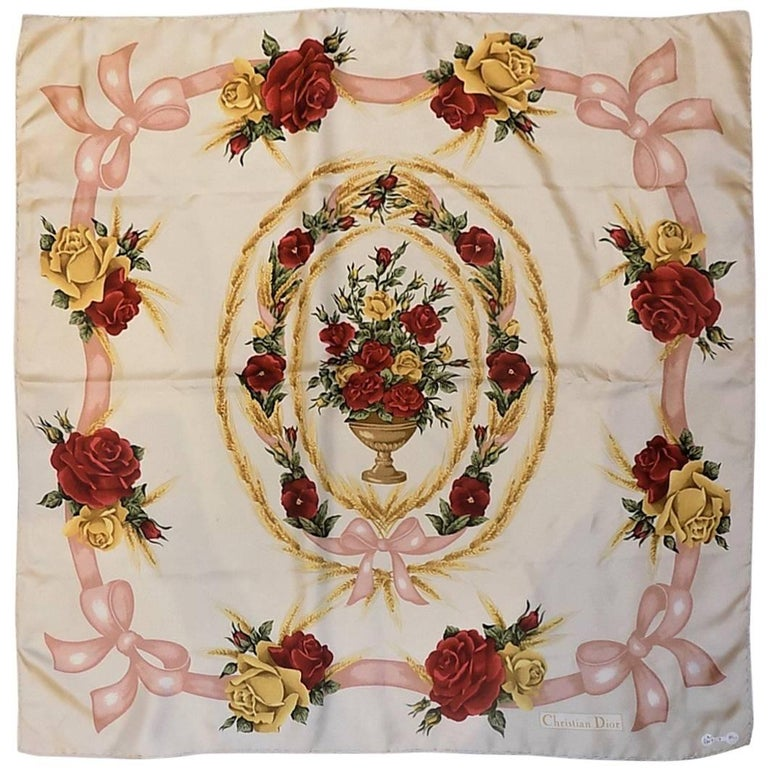Christian Dior Vintage silk floral scarf For Sale